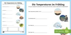Temperature Adjectives Activity Sheet German