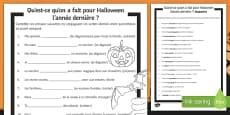 Halloween Perfect Tense Gap Fill Activity Sheet