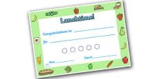 Lunchtime Themed Sticker Reward Certificate 15mm