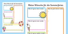 Summer Holiday Hopes Write-Up Activity Sheet German