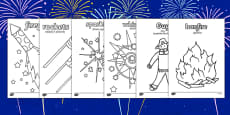 Bonfire Night Colouring Sheets Polish Translation