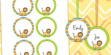 Jungle Themed Birthday Party Name Tags