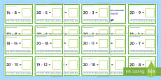 Scăderi până la 20 pe axa numerelor Cartonașe cu provocări