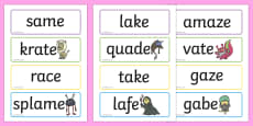 Phase 5 Flashcards Real and Alien Words