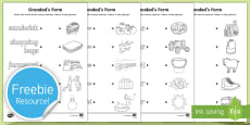 Grandad's Farm Picture and Word Matching Activity Sheet