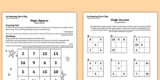 Magic Squares Activity Sheet Arabic Translation