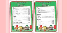 Mexican Restaurant Role Play Menu (Australia)