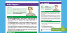 * NEW * Kate Sheppard Fact File