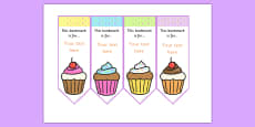 Cupcake Editable Bookmarks