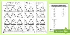 Multiplication Triangles Activity Sheet 2 to 12 Times Tables English/Italian