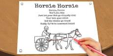 Horsie Horsie Colouring in Sheet