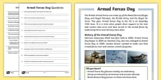 KS1 Armed Forces Day Differentiated Reading Comprehension Activity