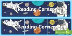 Space-Themed Reading Corner Display Banner