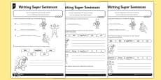 Writing Super Sentences Differentiated Activity Sheet Pack
