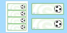 Editable Footballs Drawer, Peg, Name Labels