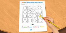 Visual Perception Colour Matching Activity Sheet