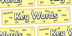 Key Words Display Banner