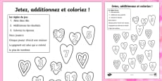 Valentine's Day Colour and Roll Activity Sheet French
