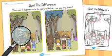 Goldilocks and the Three Bears Spot the Difference Activity