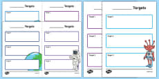 Space Theme Editable Pupil Target Sheets