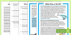 What Does A Vet Do? Differentiated Reading Comprehension Activity