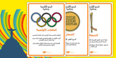 The Olympics Symbols and Their Meanings Display Posters Arabic