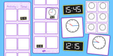 Vertical Visual Timetable Display With Clocks