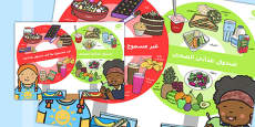 Healthy and Unhealthy Lunchbox Food Poster Arabic