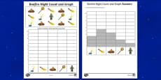 Bonfire Night Themed Count and Graph Activity Sheet