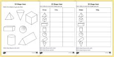 3D Shape Hunt Activity Sheet