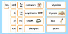 Ancient Olympics Word Cards