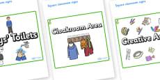 Pear Themed Editable Square Classroom Area Signs (Plain)