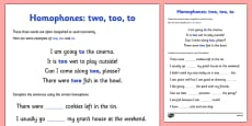 Homophones To Two Too Activity Sheet