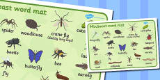 Minibeasts Word Mat (Detailed Version)