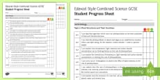 * NEW * Edexcel Style Plant Structures and Their Functions Student Progress Sheet