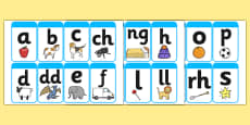 Large Phase 1 (A-Z) Mnemonic Word / Image Cards (Welsh)