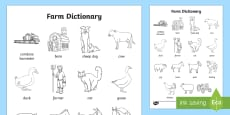 Farm Dictionary Colouring Sheet