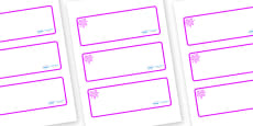 Pink Themed Editable Drawer-Peg-Name Labels (Blank)