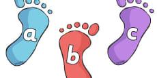 A-Z Alphabet on Footprints