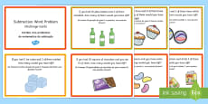 KS1 Subtraction Word Problem Challenge Cards English/Portuguese