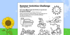Summer Holiday Challenges Activity Sheet Arabic Translation