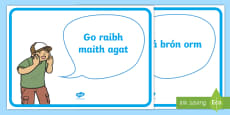 Good Manners Vocabulary Display Posters Gaeilge