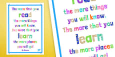 Dr Seuss Reading Quotes Poster