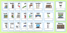EAL Everyday Objects at School Editable Cards with English