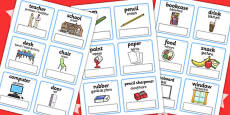 EAL Everyday Objects at School Editable Cards with English Romanian Translation