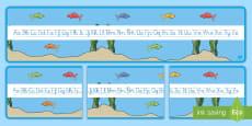 El pez arcoiris recta alfabética de exposición