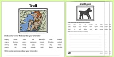 The Three Billy Goats Gruff Character Description Sheets