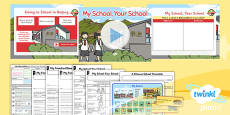 PlanIt - Geography Year 2 - Let's Go to China Lesson 4: My School Your School Lesson Pack