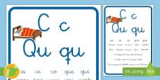* NEW * Cartilla de lectura: La letra C y la Qu