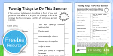 20 Things to Do This Summer Activity Sheet